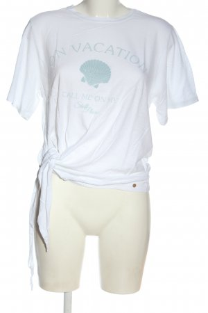Cotton Candy T-shirt bianco-turchese caratteri stampati stile casual