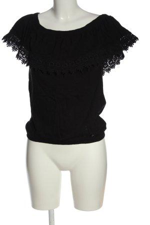 Cotton Club Camisa tipo Carmen negro look casual