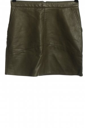 Cotton Club Faux Leather Skirt khaki casual look
