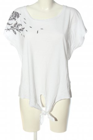 Cotton Club Short Sleeved Blouse white-black themed print casual look