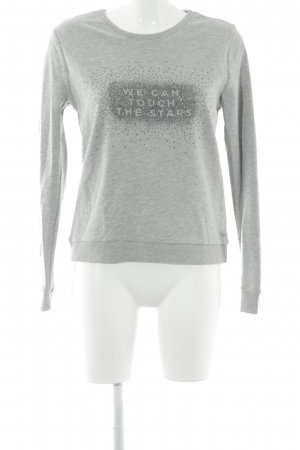Cotton Club Rundhalspullover hellgrau Motivdruck Casual-Look