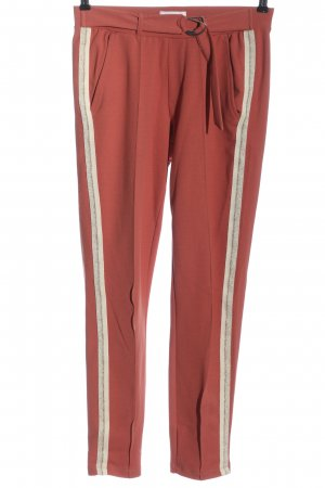 Cotton Club Jersey Pants red-cream striped pattern casual look