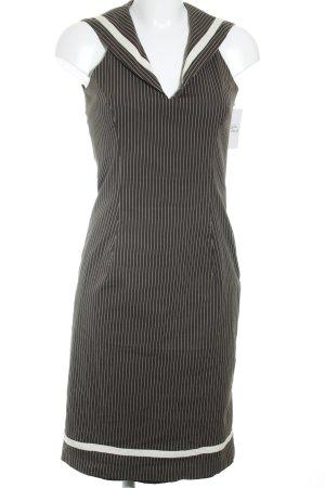 Cottonade schulterfreies Kleid dunkelgrau-weiß Streifenmuster Business-Look