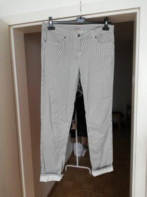 pantalón de cintura baja blanco-azul oscuro Algodón