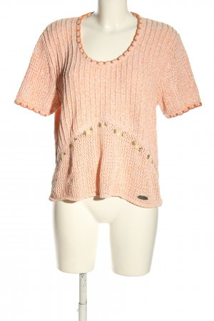 Country blue Strickshirt hellorange Zopfmuster Casual-Look