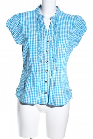 Country Lady Trachtenbluse blau-weiß Allover-Druck Casual-Look