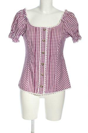 Country Lady Trachtenbluse weiß-pink Allover-Druck klassischer Stil
