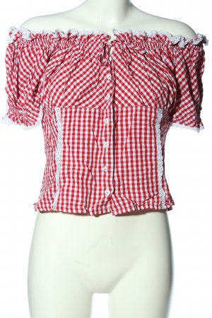 Country Line Carmen-Bluse rot-weiß Karomuster Casual-Look