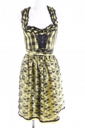 Country Line Dirndl yellow-black check pattern Bow detail