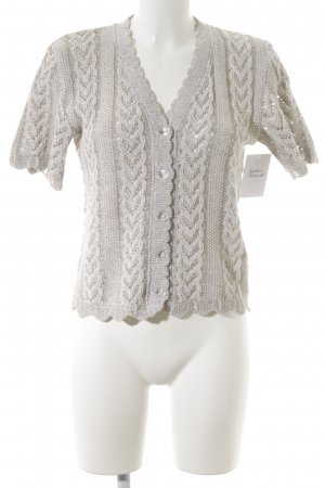 Country Line Crochet Cardigan oatmeal-grey brown flecked