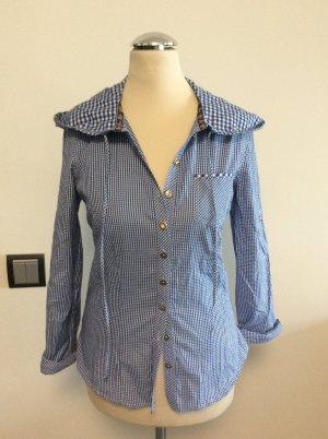 Country Line Camisa folclórica blanco-azul