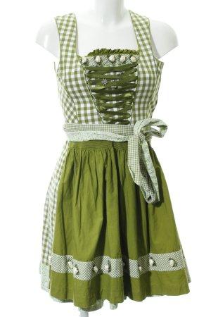 Country Line Minikleid weiß-grasgrün Karomuster Bänderverzierung