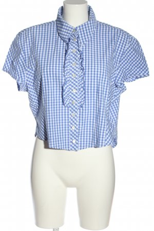 Country Line Traditional Blouse blue-white allover print classic style