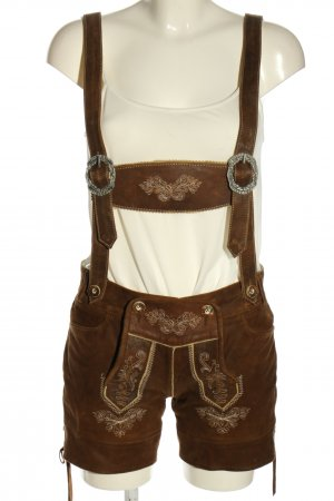 Country Line Pantalón de cuero tradicional marrón estilo clásico