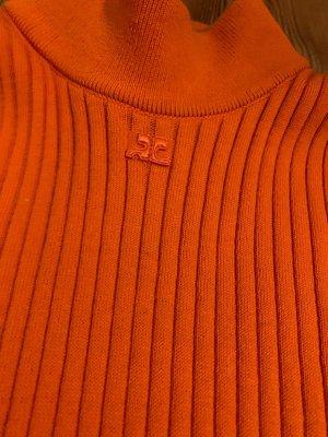 COURREGES Ripp-Pullover in Orange Rippshirt Stretch-Baumwolle mit Kaschmir