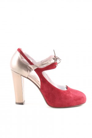 couture High Heels rot-goldfarben Elegant