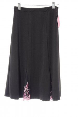 Couture Line Tellerrock schwarz-rosa florales Muster Casual-Look