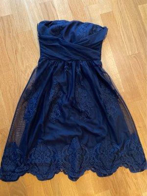 Covktailkleid/ schönes Abendkleid kurz mit Stickereien  in nachtblau