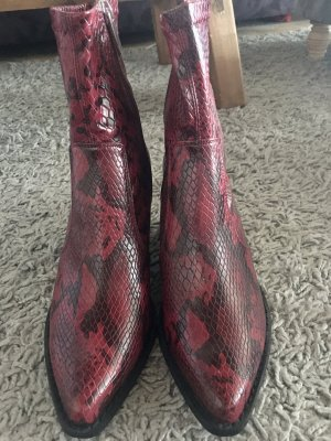 Topshop Zipper Booties carmine leather