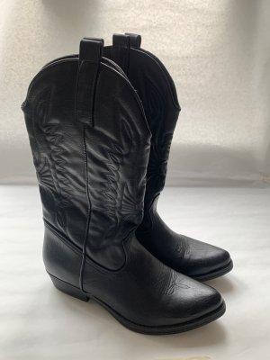 Botas estilo vaquero negro tejido mezclado