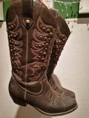 Graceland Western Booties dark brown
