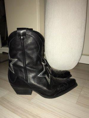Sacha Boots western noir cuir