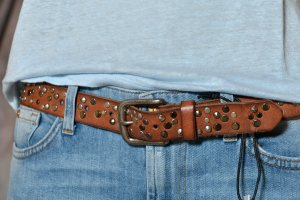 COWBOYSBELT 85 Ledergürtel Nietengürtel Braun used Vintage Leder Gürtel