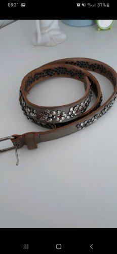 Cowboysbelt Cintura di pelle marrone-grigio