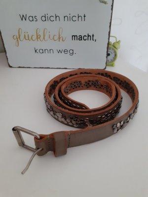 Cowboysbelt Leather Belt grey brown