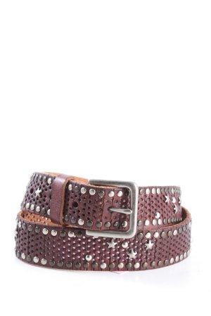 Cowboysbelt Skórzany pasek różowy-srebrny W stylu casual
