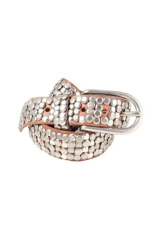 Cowboysbelt Cintura di pelle marrone-argento stile casual