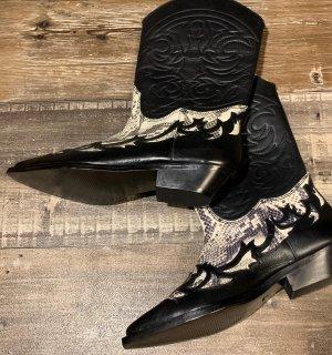 Mango Premium Western Boots black-natural white