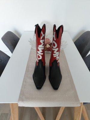 Tommy Jeans Western Laarzen zwart-rood Leer