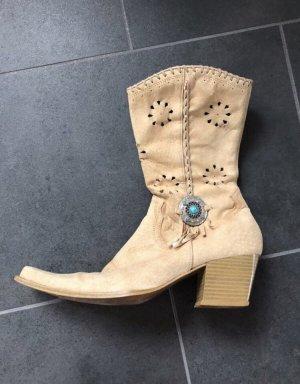 Cowboystiefel von Bata, Stiefel beige, braun