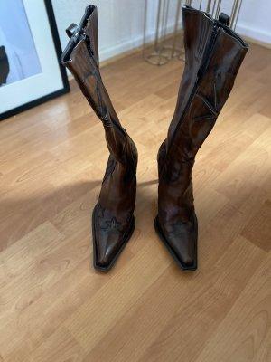 Cox Buty w stylu western czarno-brązowy-ciemnobrązowy