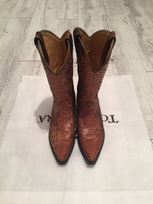 Tony Mora Western Boots cognac-coloured-black reptile leather