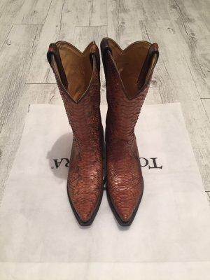 Tony Mora Botas estilo vaquero coñac-negro piel de reptiles