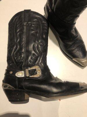 Vintage Buty w stylu western czarny-srebrny