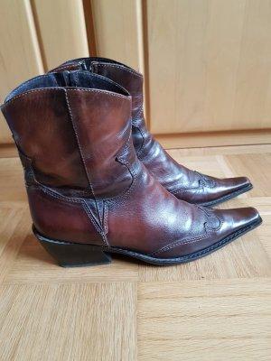 Bartu Western Booties brown-dark brown leather
