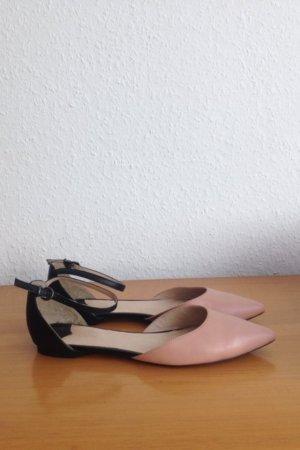 Cox Ballerinas spitz schwarz rosé Fesselriemchen 37
