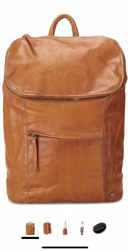 Cox Laptop Backpack cognac-coloured leather