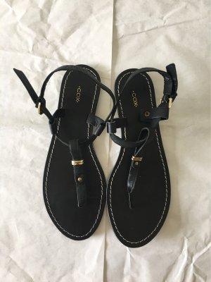 Cox Toe-Post sandals black-bronze-colored leather