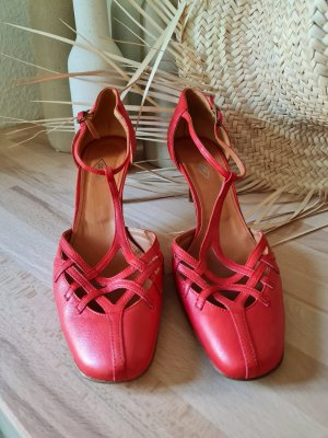 Cox Strapped pumps salmon-bright red leather