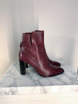 Cox Stiefelette Stiefel rot rotbraun Leder Lederschuh Boots mit Absatz Größe 41