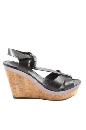 Cox Wedges Sandaletten schwarz-braun Casual-Look