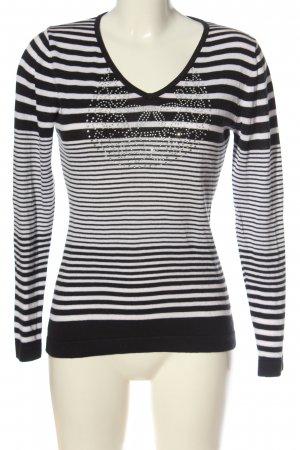 CPM the Collection! Fine Knit Jumper black-white striped pattern casual look
