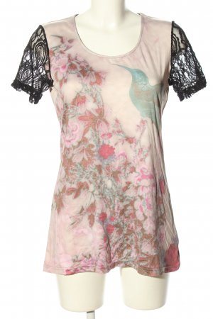 CPM the Collection! Short Sleeved Blouse pink-black themed print casual look