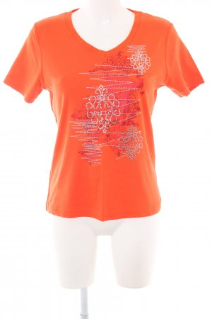 CPM the Collection! V-Ausschnitt-Shirt hellorange-silberfarben abstraktes Muster