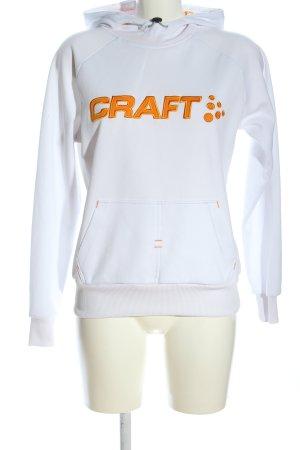 Craft Kapuzensweatshirt weiß-hellorange Schriftzug gedruckt Casual-Look