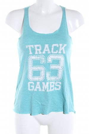 Crane Tank Top turquoise-white themed print casual look